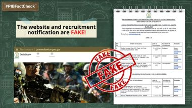 Indian Territorial Army's Website Inviting Applications for Various Posts? PIB Fact Check Debunks Fake News, Reveals Truth