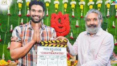Chatrapathi Remake: SS Rajamouli Gives Mahurat Clap for Bellamkonda Sai Sreenivas' Bollywood Debut (See Pics)