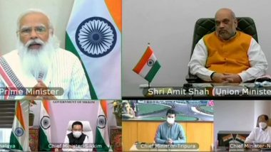 PM Narendra Modi Interacts With Chief Ministers of North-Eastern States on COVID-19 Situation