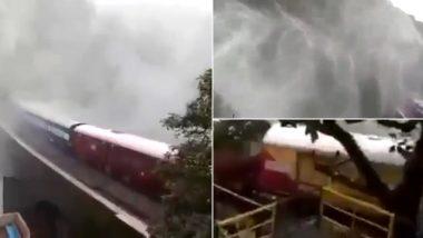 Train Passing Through Doodhsagar Waterfall in South Western Railway Halted Due to Heavy Rainfall (Watch Video)