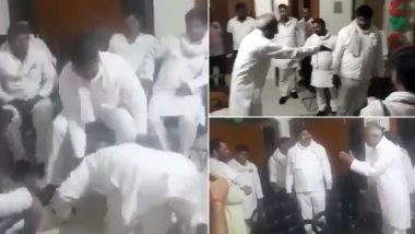 UP Zila Panchayat President Election 2021: Former Samajwadi Party MP Ramkishun Yadav Falls at Feet of SP Members to Seek Support (Watch Video)