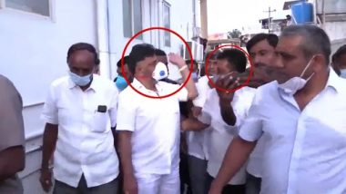 DK Shivakumar, Karnataka Congress President, Slaps a Party Worker for Trying To Put His Hand on His Shoulder in Mandya (Watch Video)