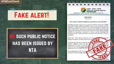 NEET-UG Exam to Be Conducted on September 5, 2021? PIB Fact Check Debunks Fake News, Reveals Truth Behind Viral Public Notice