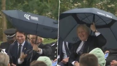 Boris Johnson Struggles With His Umbrella During Event Dedicated to Police Officers, Prince Charles and Priti Patel Couldn't Stop Laughing (Watch Video)