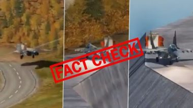 Fact Check: Viral Video of MiG Aircraft Landing on Dam Is Not Real! Stunning Animation Is Created With Help of Digital Combat Simulator