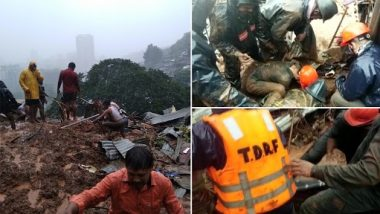 Thane Rains: Heavy Rainfall Triggers Landslide in Kalwa Area, 4 Houses Damaged; Rescue Operation Underway (See Pics)