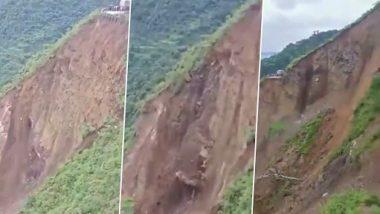Himachal Pradesh: Massive Landslide Reported at Kali Khan Area in Sirmaur District, Paonta Sahib-Shillai National Highway 707 Closed (Watch Video)
