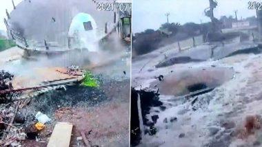 Gujarat: 40-Year-Old Overhead Water Tank Collapses in Khirsara Village of Junagadh (Watch Video)