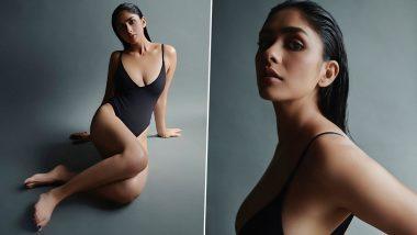 Mrunal Thakur Looks Smokin Hot as She Flaunts Her Lean Frame in a Sexy Black Monokini (View Pics)