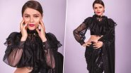 Rubina Dilaik Looks Drop-Dead Gorgeous in a Stylish Black Shimmery Sequin Saree; See Latest PHOTOS