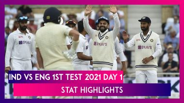 IND vs ENG Stat Highlights 1st Test 2021 Day 1: Bowlers Put India on Top