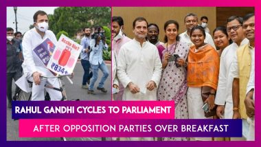 Rahul Gandhi Cycles To Parliament After Opposition Parties Meet Over Breakfast
