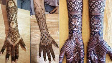 Hariyali Teej 2021 Mehendi Designs: Intricate Arabic, Indian, Rajasthani, Floral & Bracelet-Style Mehndi Patterns for Front and Back Hand To Apply During Sawan Month