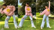 Anushka Sharma Is Queen of Casual Posing in Relaxed Pink Sweatshirt and Ripped Jeans (View Pics)