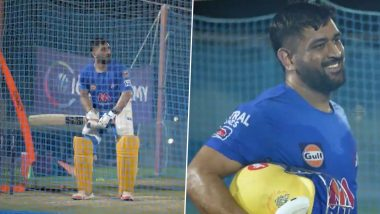 MS Dhoni Fires Warning to Kolkata Knight Riders Ahead of IPL 2021 Final Match, CSK Captain Slams Towering Sixes in the Nets (Watch Video)