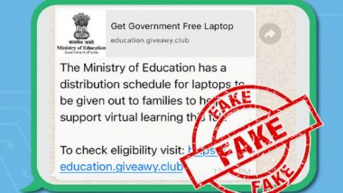 Free Laptops Being Given to All Citizens by Education Ministry? PIB Fact Check Debunks Fake News, Reveals Truth Behind Viral Message