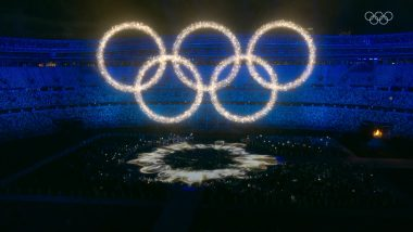 Tokyo Olympics 2020 Closing Ceremony: Colourful Lights Form Glowing Olympic Rings (Check Picture)