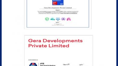 Business News | Gera Developments is the Only Real Estate Player in the Asia Top 20 List by Great Place to Work®