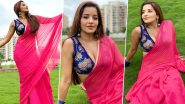 Monalisa Oozes Oomph In a Sexy Pink Saree With Blue Floral Printed Blouse; See Stunning Photos
