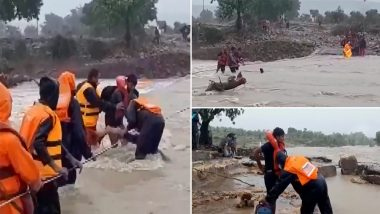 Madhya Pradesh Rains: NDRF Personnel Rescue 40-50 Construction Workers from Flood-Affected Shivpuri (Watch Video)