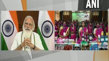 PM Narendra Modi Participates in 'Atmanirbhar Narishakti Se Samvad', Interacts With Women SHG Members
