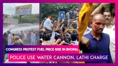 Congress Workers Protest Fuel Price Rise In Bhopal, Police Use Water Cannon, Lathi Charge