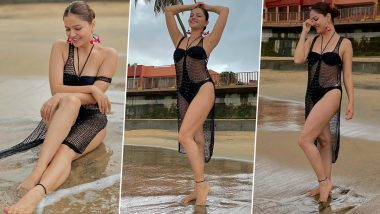 Rubina Dilaik Oozes Oomph In Sexy Black Tiny Bikini With Fishnet Cover-Up, View Drool-Worthy Pics Of The Diva