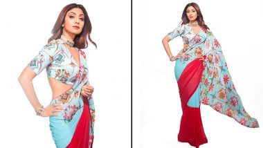 Shilpa Shetty Kundra Looks 'Powerful' and 'Determined' As She Strikes a Pose in Printed Six-Yard (View Pics)