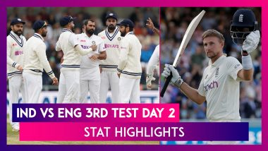 IND vs ENG 3rd Test Day 2 Stat Highlights: Joe Root Shines For England