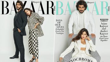 Half-Siblings Janhvi and Arjun Kapoor Stun in Classic Monochrome Outfits for Their First-Ever Cover Together With Harper Bazaar's Latest Issue (View Pics)