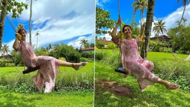 Rubina Dilaik Enjoys Some Swing Time In a Beautiful Sheer Dress, Shares Stunning Pics From Picturesque Location
