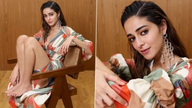 Ananya Panday Exudes Fashion Goals In a Stylish Thigh-Slit Abstract Print Dress, See Latest Insta Post