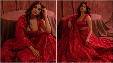 Janhvi Kapoor's Red Manish Malhotra Lehenga is For Those Who are Obsessed With Bling (View Pics)