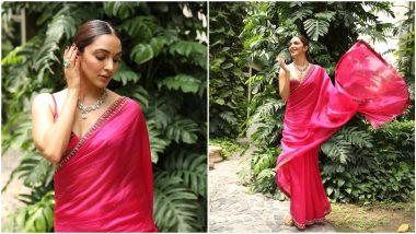 Kiara Advani's Pink Punit Balana Saree is Perfect For Raksha Bandhan Celebration (View Pics)