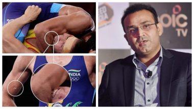 Ravi Kumar Dahiya Bitten on Arm by Nurislam Sanayev During Men's Wrestling 57kgs Semi-Final at Tokyo Olympics 2020, Virender Sehwag Calls it 'Disgraceful' (See Pics)