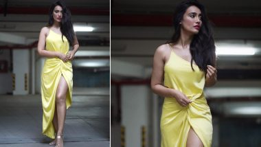 Surbhi Jyoti's Yellow Front-Slit Slip Dress Is Perfect Outfit For a Romantic Date Night (View Pics)
