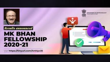 MKB-YRFP Result 2021: First MK Bhan Fellowship-Young Researcher Fellowship Programme Results Announced, Check Scores at dbtindia.gov.in