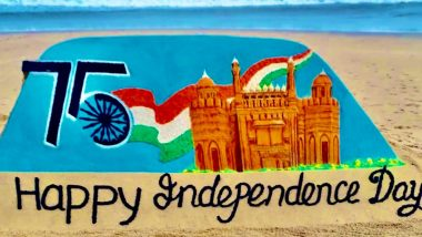 India Independence Day 2021: Sudarsan Pattnaik Shares Sand Art Created by His Students at Odisha's Puri Beach (Watch Video)