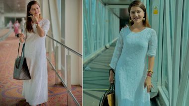 Rubina Dilaik's All-White Chikankari Suit Is a Must-Have Ethnic Wear This Monsoon, View Stunning Photos