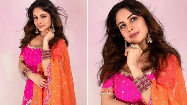 Shehnaaz Gill Rocks Nose Pin but It's Her Pink and Orange Salwar Suit That Leaves Us Dazzled (View Photos)