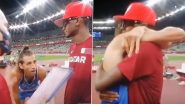 Athletes Mutaz Essa Barshim and Gianmarco Tamberi Seen Embracing in Viral Video After Sharing Gold Medal in Long Jump Event at Tokyo Olympics 2020 (Watch Video)