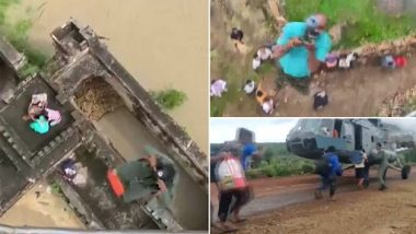 Madhya Pradesh Floods: IAF Continues To Carry Out Rescue Operations in Flood-Hit Shivpuri District (Watch Video)