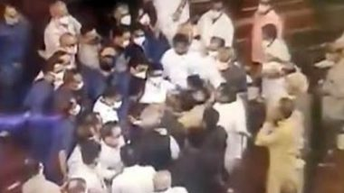 CCTV Footage From Rajya Sabha Shows Opposition MPs Jostling With Marshals in Upper House (Watch Video)