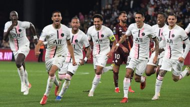FC Metz 1-2 PSG, Ligue 1 2021-22: Achraf Hakimi Inspires Lionel Messi-Less Parisians To Another Late Win (Watch Goal Video Highlights)