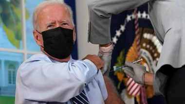 US President Joe Biden Gets COVID-19 Booster Shot, Says To Beat This Pandemic We Need to Get Folks Vaccinated (Watch Video)