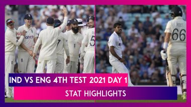 IND vs ENG Stat Highlights 4th Test 2021 Day 1: Bowlers Fight Back for India After Virat Kohli, Shardul Thakur Hit Fifties