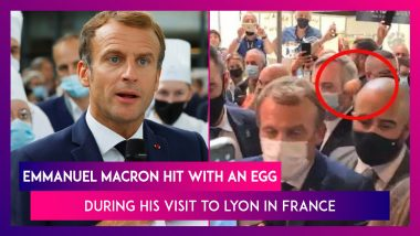 Emmanuel Macron Hit With An Egg During His Visit To Lyon In France