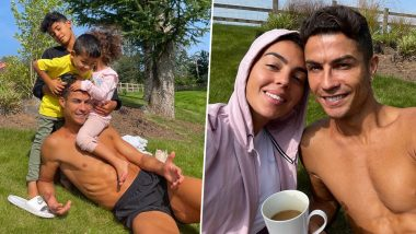 Cristiano Ronaldo Poses With Children and Girlfriend Georgina Rodriguez in Manchester Ahead of his Much-Awaited Return for Red Devils (Check Post)
