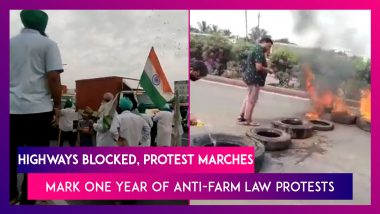 Highways Blocked, Protest Marches Mark One Year Of Anti-Farm Law Protests