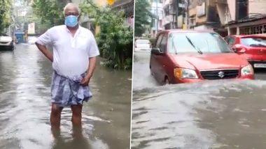 Kolkata Rains: TMC MP Sougata Roy Wades Through Knee-Deep Water (Watch Video)